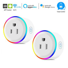 Smart US UK EU Plug WiFi Controle tijdschakelaar stopcontact Smart Outlet RGB LED Light Voice Control werken met alexa Google IFTTT(China)