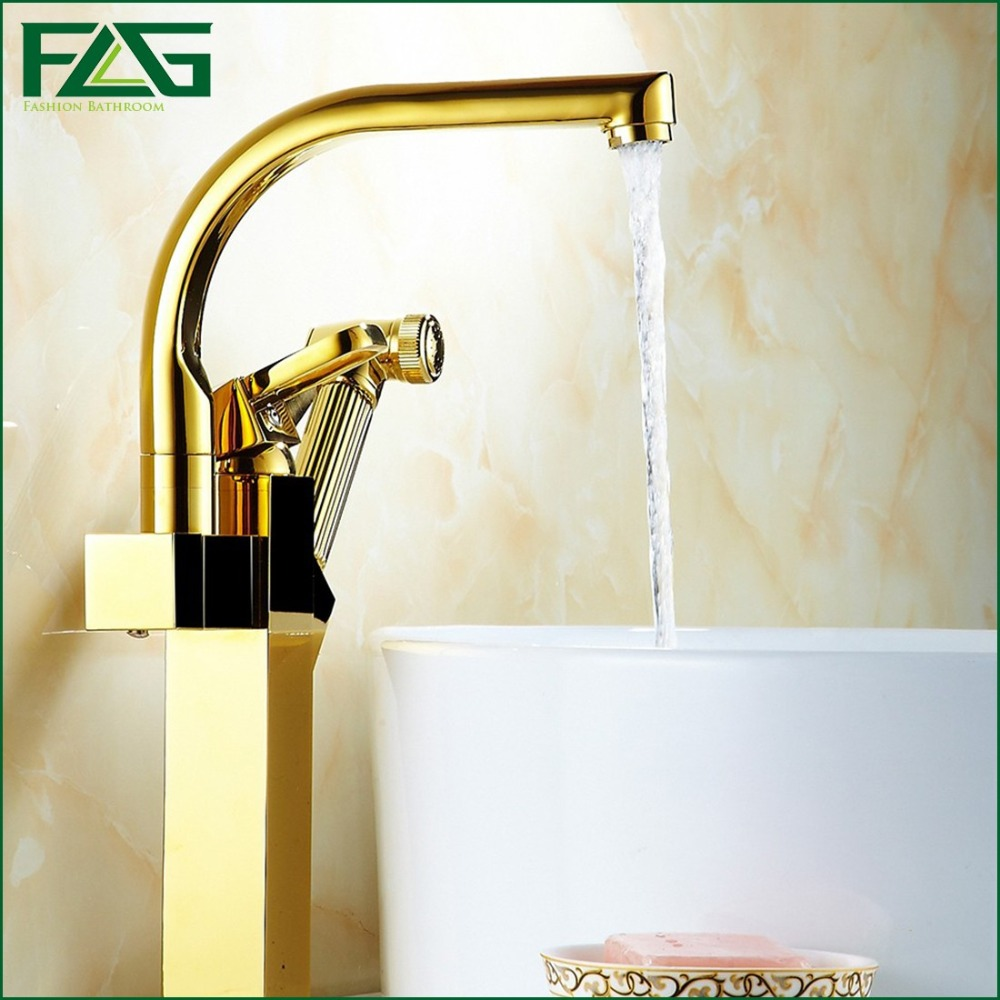 Gold Kitchen Faucet Platform Heightening Dual Sprayer Swivel Spout Kitchen Mixer Pull Out Faucet Water Taps antique brass swivel spout dual cross handles kitchen