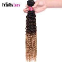 Fashion Lady Pre Colored Brazilian Hair Weave Bundles Ombre 1b/4/27 Kinky Curl Human Hair Blonde Weave Bundles 1 Piece Non remy