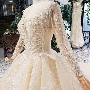 Image 5 - HTL627 luxury wedding dresses long sleeve o neck heavy handmake bead wedding gowns 2020 keyhole back vestido de novia con manga