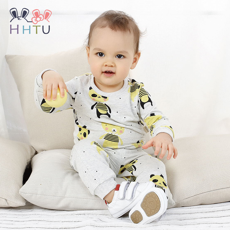 HHTU 2018 Children Clothes Pants Set Kid Sports Sweater Suit Spring Autumn Pajamas Suit Long Sleeve Pajama Home Nightgown New