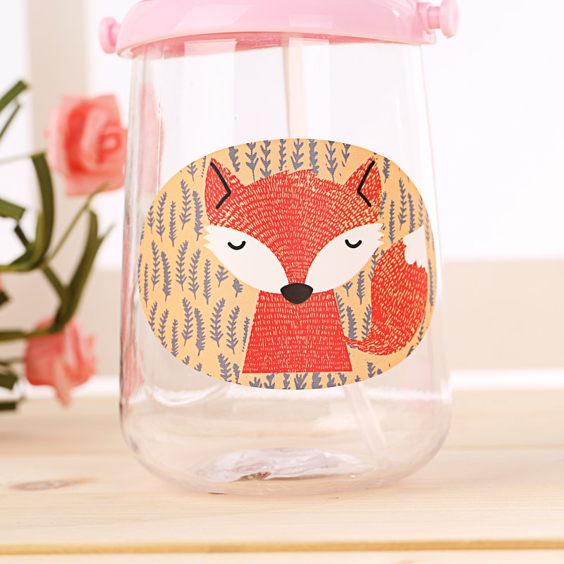 350ml Infant Baby Drinking Cup Straw Portable Rope BPA Free kid Feeding Bottles Sippy baby training Fox cups