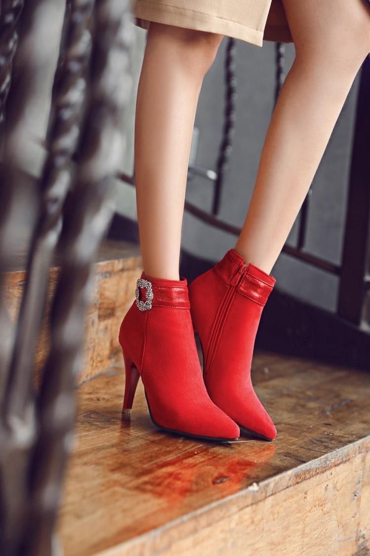 Botas Sexy Botines Para Hebilla Fur rojo 2017 Pie Del Nieve Negro Moda Tacones Mujeres Dedo A26 La Casuales De Zapatos With Fur red Nuevo black Poninted Invierno Mujer O7Awdq