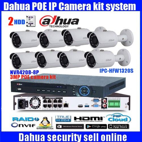 Dahua 8 Ch POE NVR4208-8P 1080P Video Ourput 8PCS 3 mp Weatherproof CCTV IP Camera DH-IPC-HFW1320S Security System camera ...