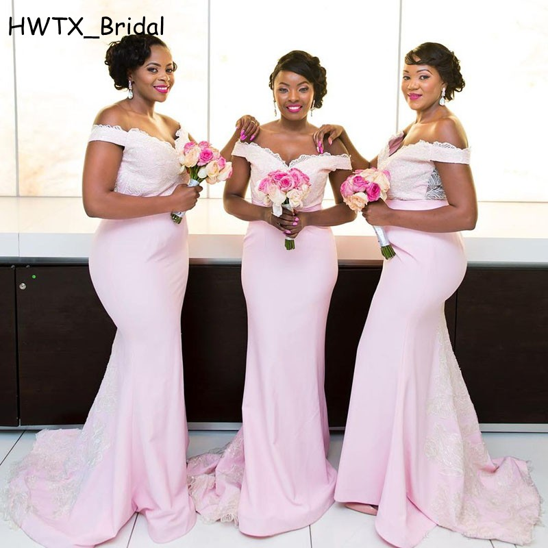 Pink Off Shoulder Wedding Guest   Dress   2018 Vintage Lace Sexy Mermaid Long   Bridesmaid     Dresses   African Prom Party Formal Gowns