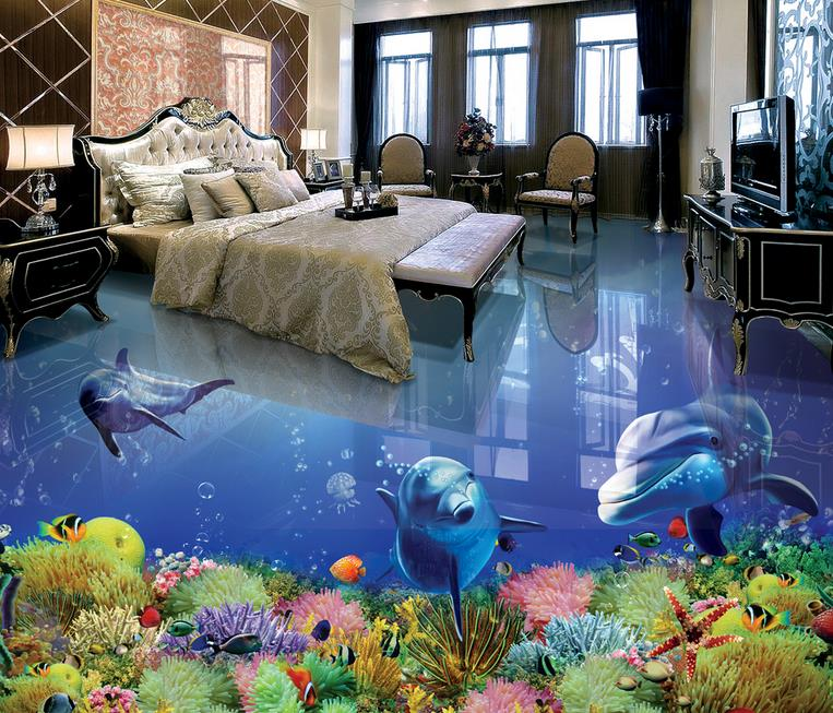 3d mural wallpaper vinyl flooring dolphin 3d floor living room 3d wallpaper tile flooring bathroom 3d stereoscopic wallpaper