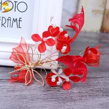XinYun Charm Floral hairband Pearl Beads red women hair ornaments headwear bridal pearl wedding photography accessories  89350
