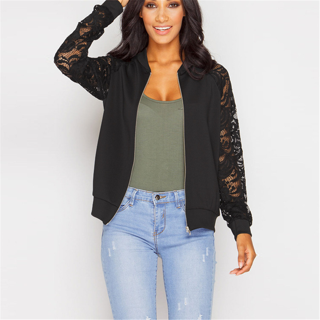 Fashion New Coats Lace Printed Bomber Jackets Women Long Sleeve Zipper Basic Hollow Out 2019 Spring Perspective Short Coat