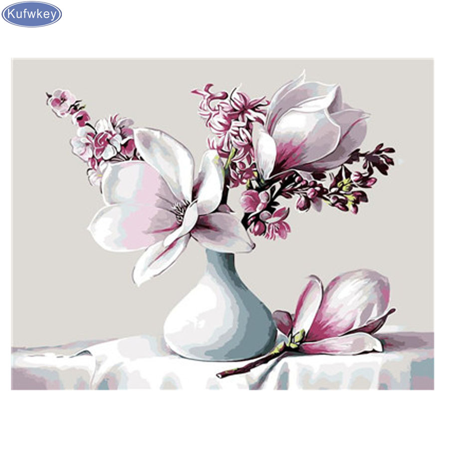 5d Diy Diamond Embroidery White Magnolia Flower Decorfulldiamond