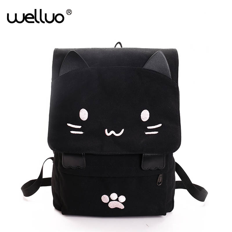 2018 New Lovely Cat Backpack Women Canvas Backpack Girls School Bag Cartoon Students Shoulder Bag Mochila Rucksuck Bolsas XA506B fashion new women students lovely canvas backpack college small cartoon print sathel multifunction travel bags mochila feminina