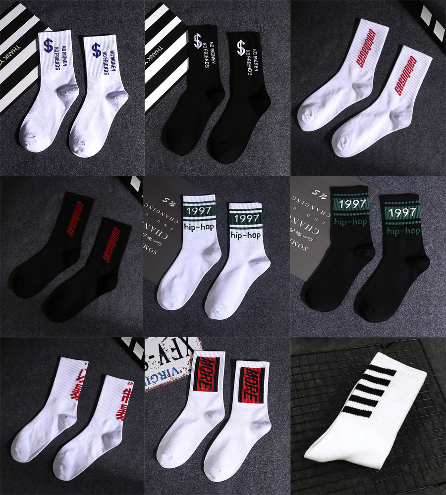 Men Cotton Solid Sport Spring Winter Socks Hot Fashionable Hip-Hop Street Casual Long Socks Striped Character
