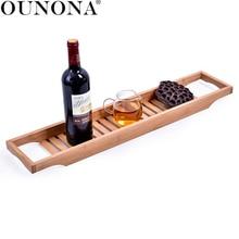 Бамбуковая деревянная Ванна салазка лоток ванная комната Органайзер с рельсами идеально органайзер для душа стойки полки для ванной держатель