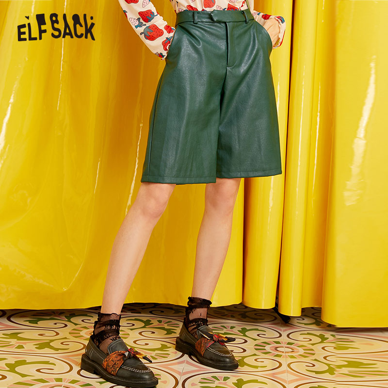 ELF SACK Vintage England Style Women Shorts Straight Mid Waist Casual 2019 Autumn Hot Short Fashion