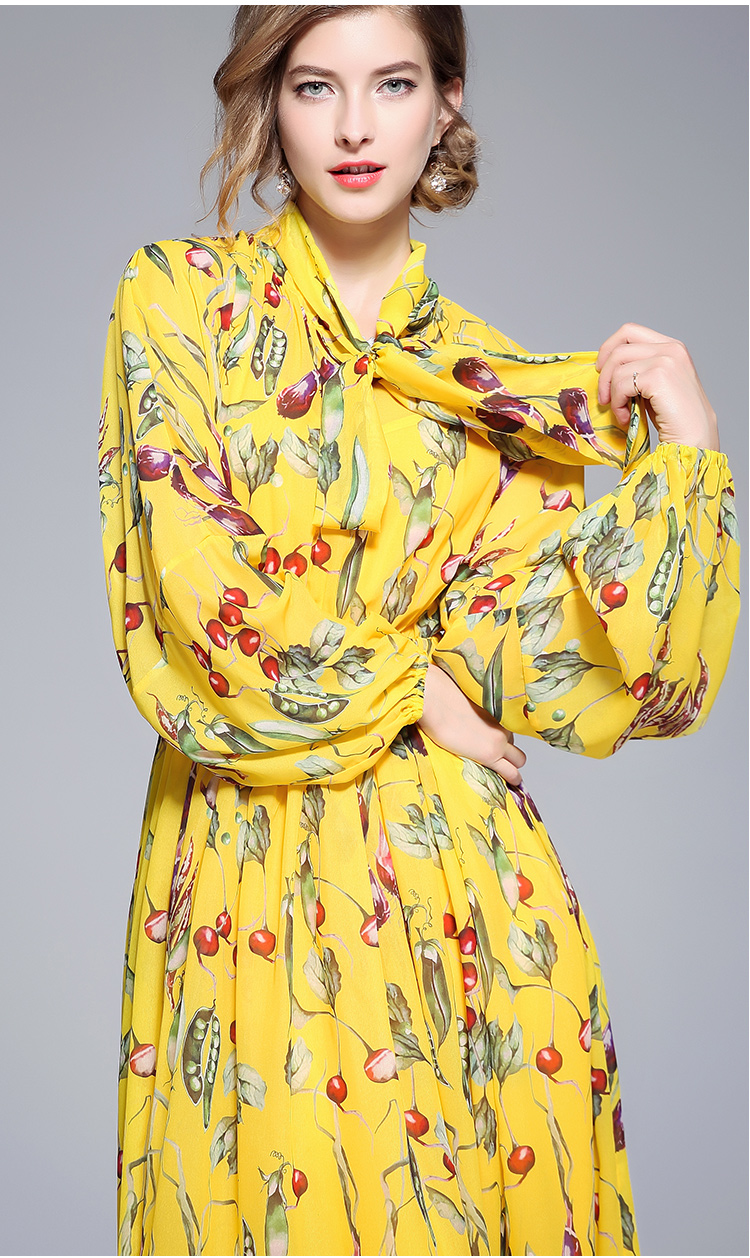 201c409089aac US $29.23 32% OFF|HAMALIEL Yellow Printing Flower Women Long Maxi Dress  2018 Summer Chiffon Bow Collar Long Lantern Sleeve Lady Beach Party  Dress-in ...