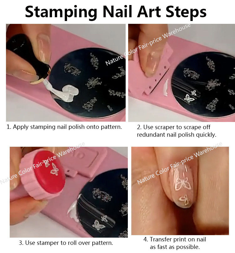 Nail Art Stamping Stamper Scraper Set Polish Nail Decoration Tool ...