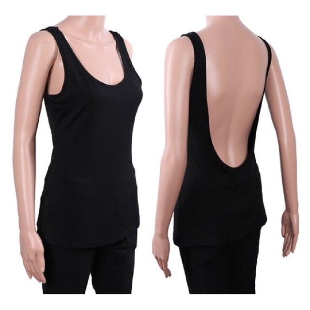 89e0b4195e98c Sexy V Profond Dos Nu Femmes Noir Débardeurs Fille Sans Manches Gris Gilet  Tops Shirt D