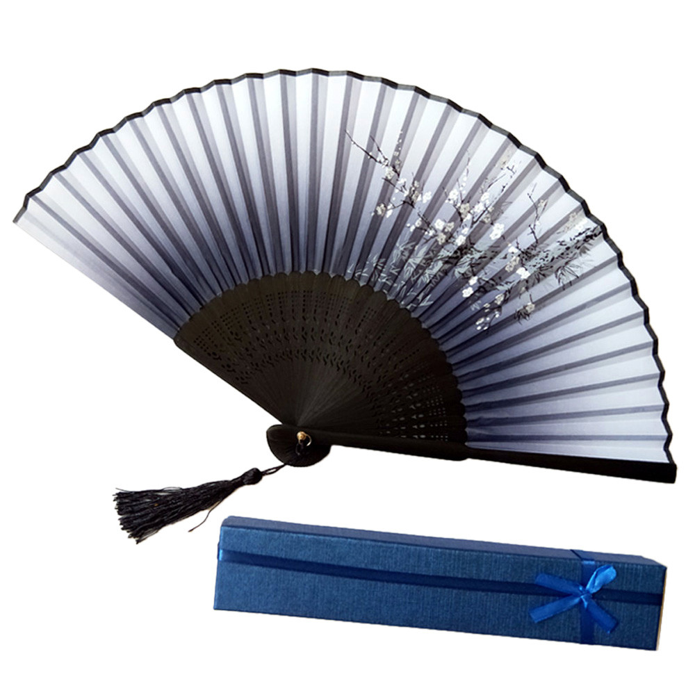 Chinese Style Hand Held Fan Bamboo Paper Folding Decal Home Party Wedding Decor