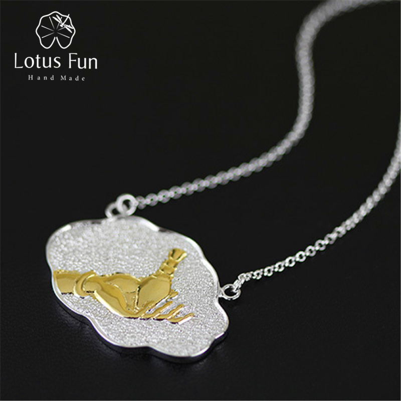 Lotus Fun Real 925 Sterling Silver Natural Handmade Fine Jewelry Ethnic Amulet Necklace with Pendant Vintage for Women Collier hot handmade colourful resin ethnic style collier necklace