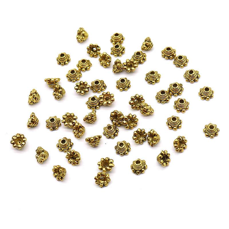 5 Mm Harga Grosir 200 Pcs Tibet Perak Spacer Beads Bunga Daisy Manik-manik untuk DIY Temuan Perhiasan Logam Manik Cepat pengiriman