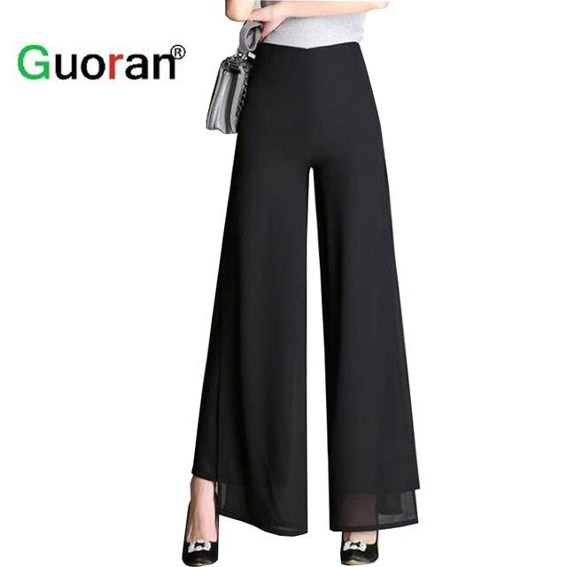 Guoran  Super Cool Verano Gasa Pantalones de Pierna Ancha Para Mujer Negro  Estudio de 9dfc060e5b59