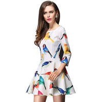 Spring And Summer Europe And America Colorful Tropical Birds Color Printing High Waist Three Quarter Sleeve