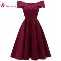 Berydress Women's Off Shoulder Burgundy Dress Short Sleeve A line Swing Wedding Party Rockabilly Cocktail Party Navy Blue Dress