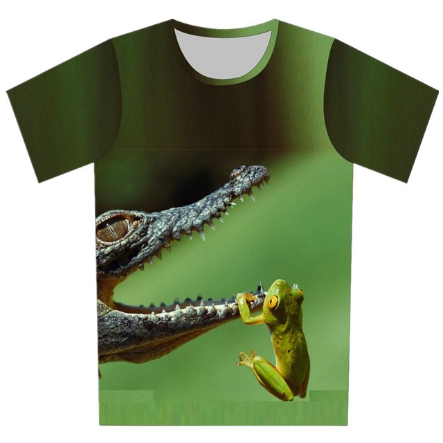 2016 Summer Children 3D Clothing Animal The Frog Crocodile Print  Design Brand Tops Boy Girl T Shirt Cool T-Shirt 95CM-155CM