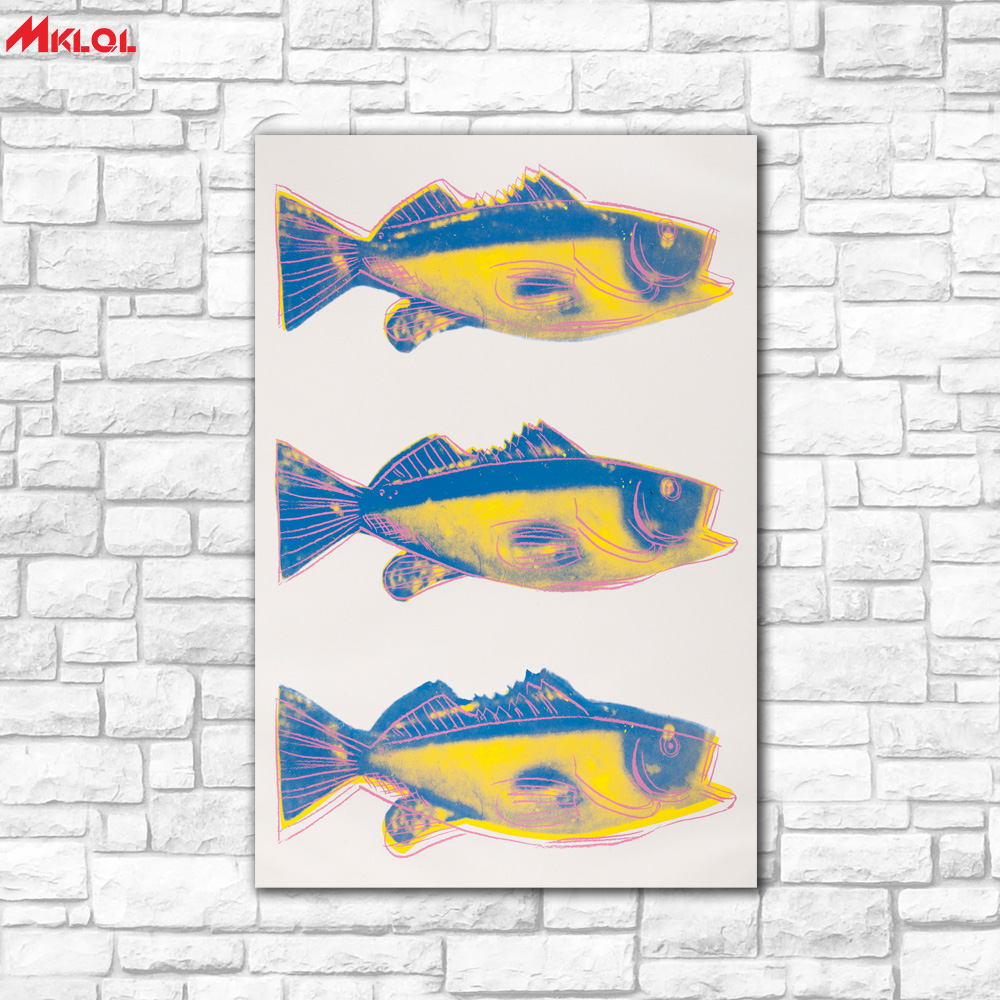 Large Wall Art,Three same fish,Restaurant study Bedroom Decor Wall oil Painting Print Nice wall picture for living room no frame