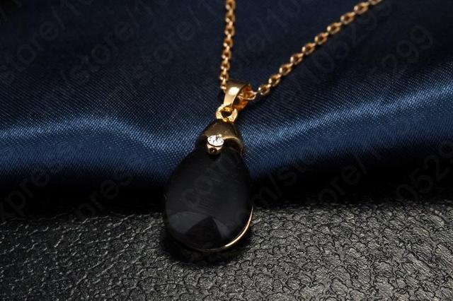 Women Party Jewelry  Vintage Black Opal Pendant With18k Yellow Gold Filled Chain Water Drop Jewelry Sets Free Shipping