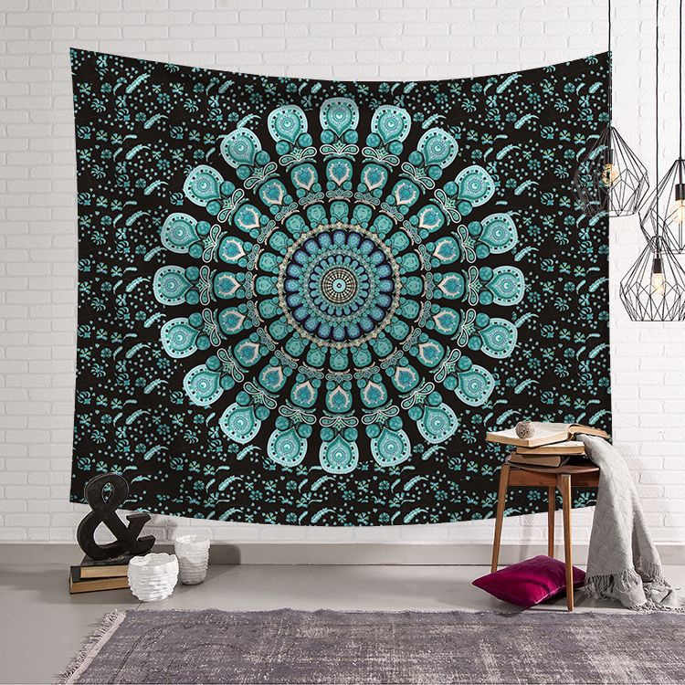Mandala tapiz pared colgante grande India brújula tela decoración Mandala manta Yoga Toalla de playa 150x130 cm alfombra alfombra de pared