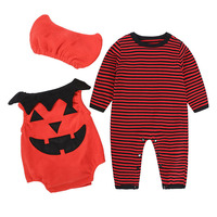 Halloween Baby Clothes Set 3pcs Baby Rompers Hats Spring Newborn Baby Clothing Infant Suit Vestido Infantil