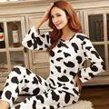 Mujeres calientes de la manera dulce para mujer de los pijamas Animal impresión de Interior Casa Ropa Traje de primavera Ropa de Dormir de manga Larga Pantalones de Pijama