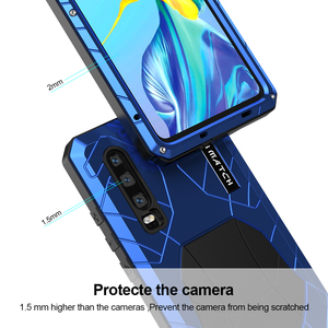 Image 3 - For Huawei P30 P30 Pro Phone Case Hard Aluminum Metal Tempered Glass Screen Protector Cover for Huawei P30 Lite Full cover