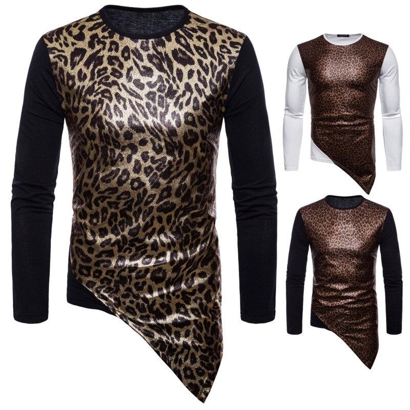 Autumn New Mens Leopard Long Sleeve Tshirt Fashion Tshirts Mens Clothing