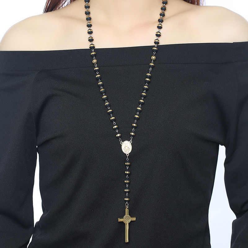 Meaeguet черный/золотой цвет Длинные Четки Ожерелье для мужчин женщин из нержавеющей стали бисера Кулон в виде креста на цепочке женские мужские подарок ювелирные изделия