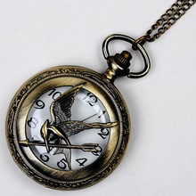 8873 la mitad cazador patrón reloj de cuarzo hambre juego Popular hueco ruiseñor diseño reloj de bolsillo de bronce Vintage de moda de Fob de