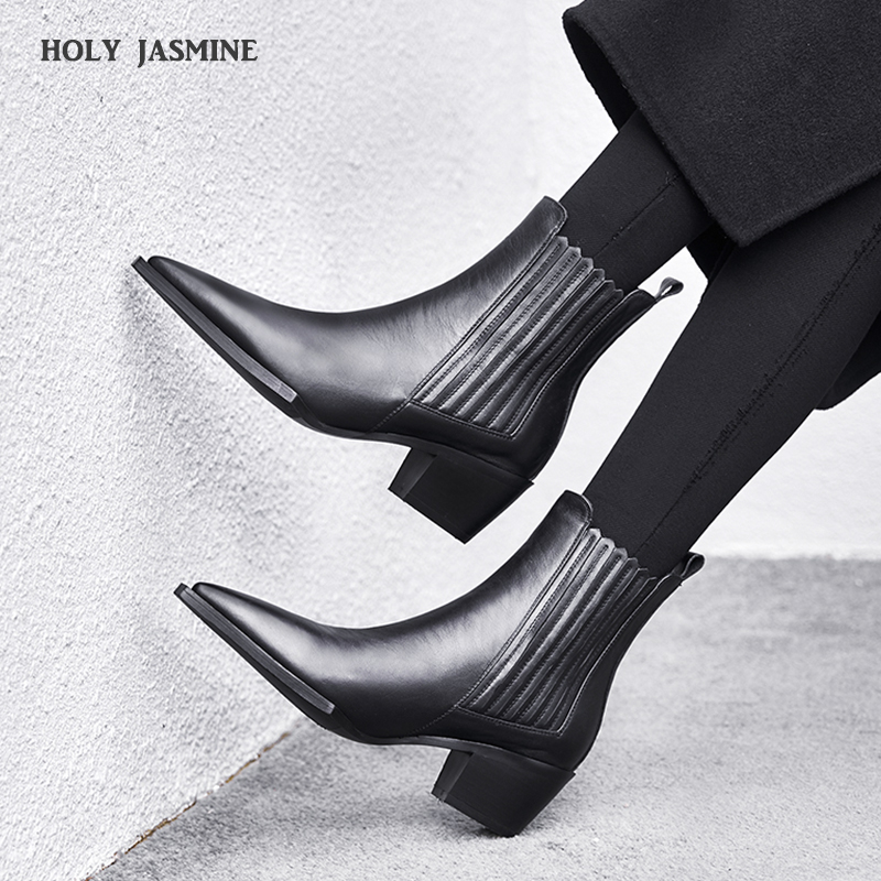 2019 Spring Women's Leather Boots Black Women's Winter Chelsea Boots Slip on Ankle Boots for Women Brand Chaussure Bottes Femme