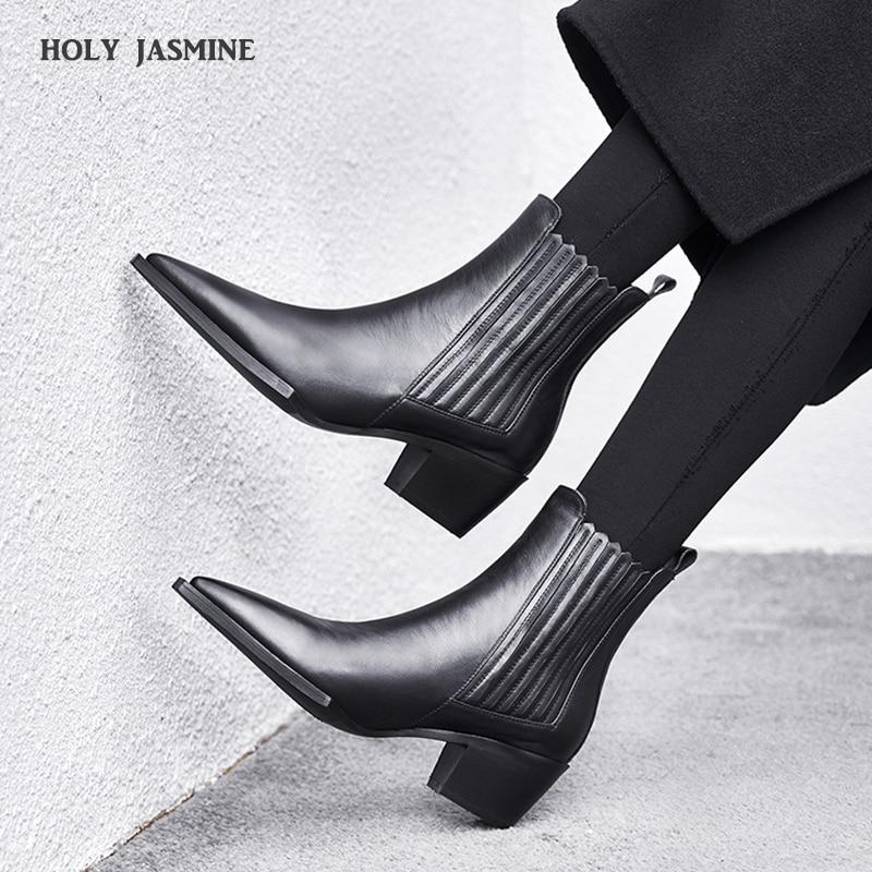 Botas De Couro das Mulheres Negras 2019 das Mulheres da Primavera Inverno Chelsea Botas mocassim Ankle Boots para As Mulheres Marca Chaussure bottes Femme