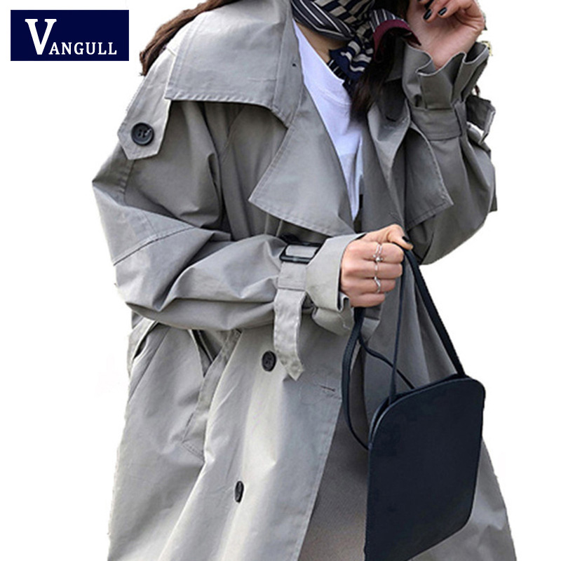Vangull New Spring Autumn Korean Fashion Double Breasted Mid-long   Trench   Coat Mujer Loose Belt Large Size Windbreak Outwear 2019