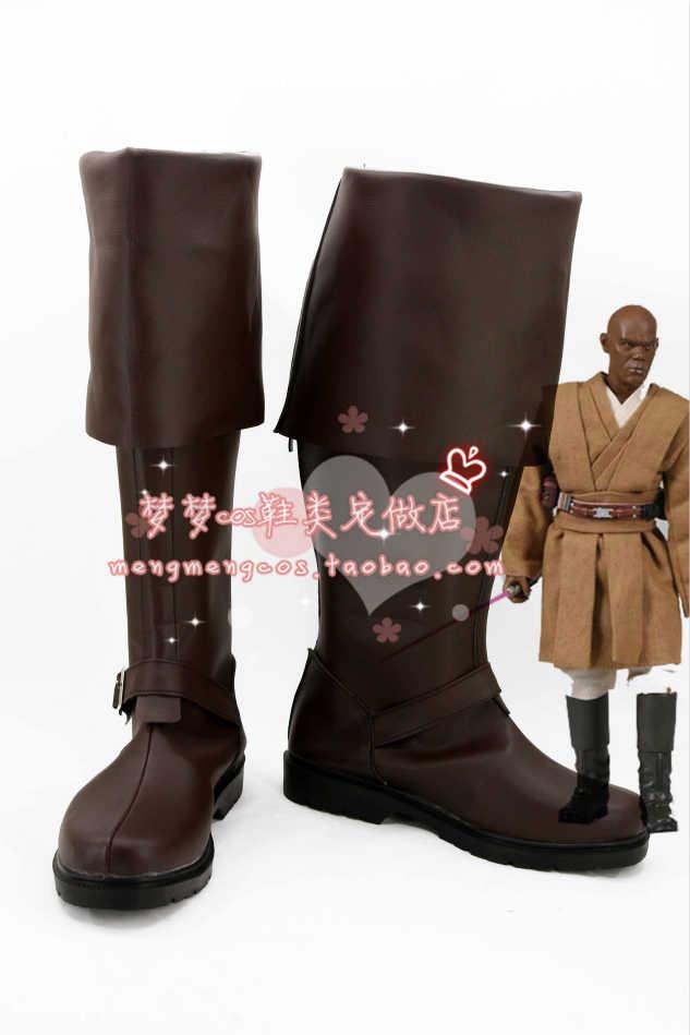 Star wars foelie windu cosplay schoenen laarzen