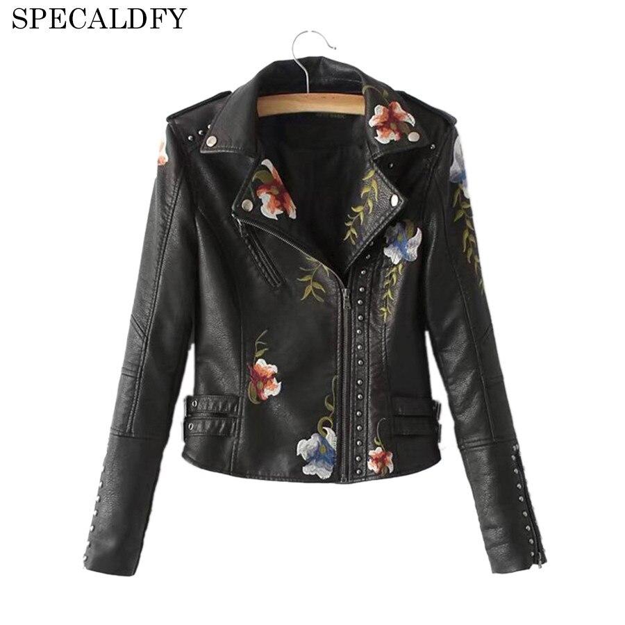 Rivet Embroidery Basic Jacket Short Coat Outerwear & Coats Black Faux Leather Jacket Women Autumn Winter Bomber Jackets Female ...