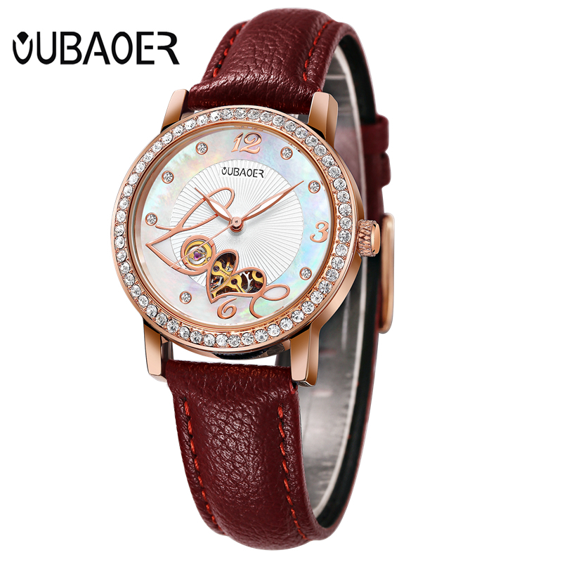 OUBAOER Luxury Women Mechanical Watch Ladies Leather Automatic Self-Wind Watches Skeleton Wristwatches Montre Homme OB2005B все цены