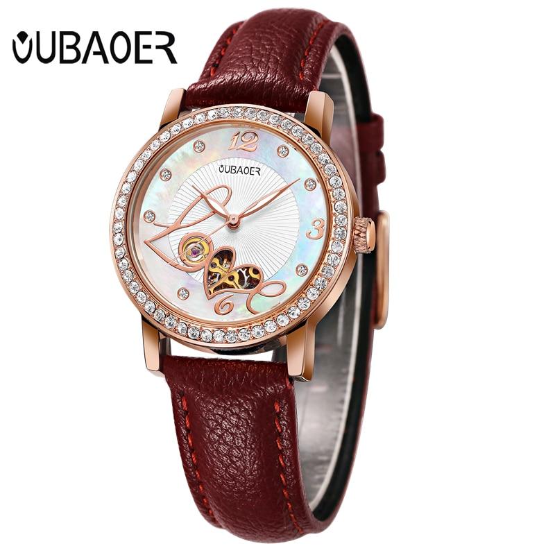 купить OUBAOER Luxury Women Mechanical Watch Ladies Leather Automatic Self-Wind Watches Skeleton Wristwatches Montre Homme OB2005B по цене 2209.24 рублей