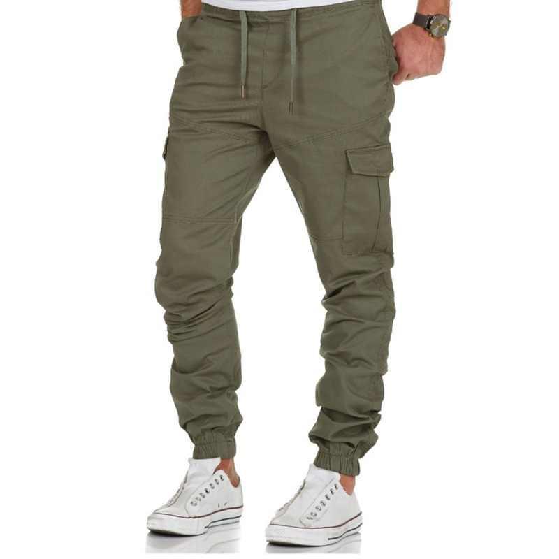 Pantalones de hombre Hip Hop Harem Joggers pantalones 2018 marcas pantalones de hombre Joggers color sólido Multi-Bolsillo pantalones cargo pantalones de chándal