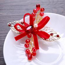 Red Crystal Leaf Flower Hairpin Women Kids Bride Wedding Bowknot Hair Clips Bridal Tiara Wedding Hair Accessories Hair Jewelry