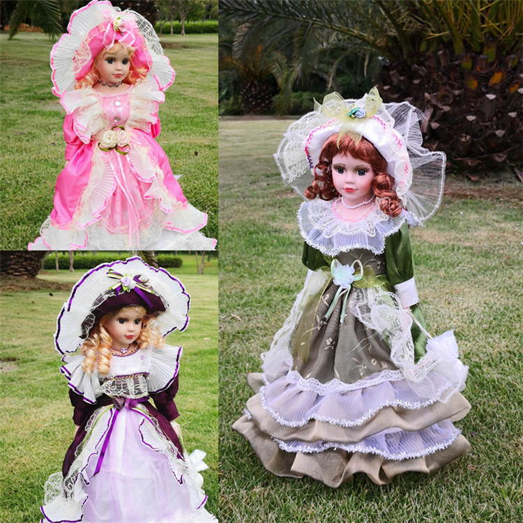 41CM European Style Victoria Style Russia Ceramic Classical Doll Noble Porcelain Doll BJD Doll High Quality Toy Gift For Girl