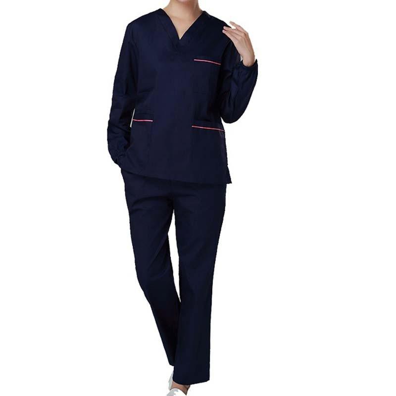 Womens Color Blocking Scrubs Set (top+pant) / Medical Nursing Uniform Long Sleeve