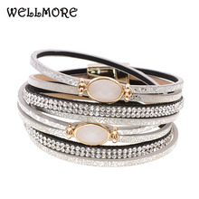 WELLMORE women bracelets glass leather fashion for Bohemian wholesale drop shipping