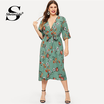 Sheinside Plus Size Floral Print V Neck Summer Dress Women Half Sleeve Chiffon Dress 2019 High Waist Belted Straight Dresses