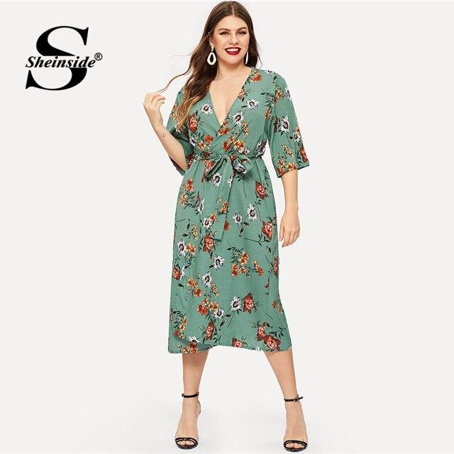Sheinside Plus Size Floral Print V Neck Summer Dress Women Half Sleeve Chiffon Dress 2019 High Waist Belted Straight Dresses